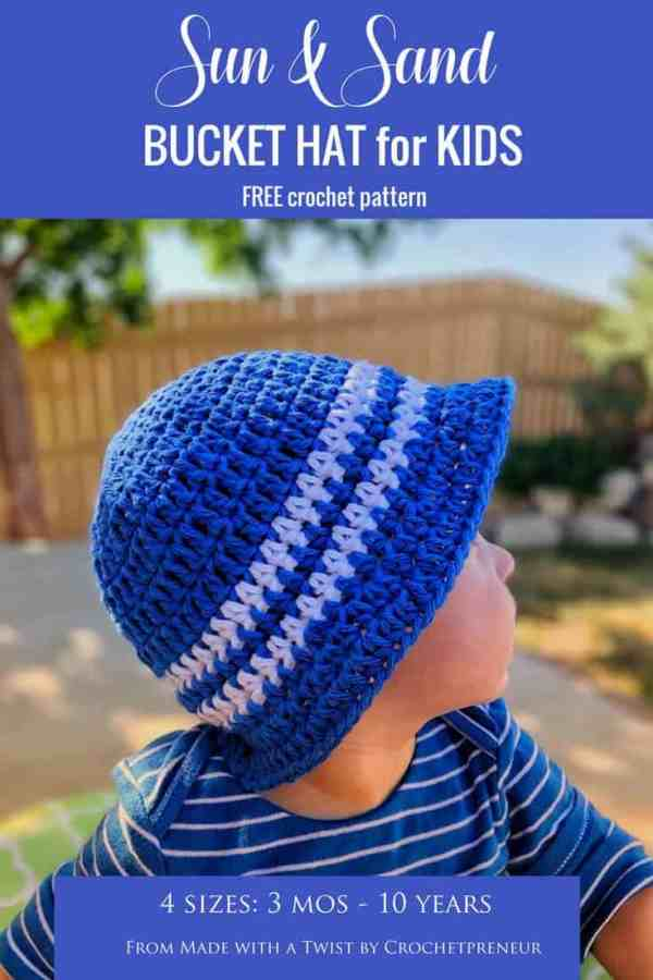 I love this sun hat on my baby, it's so precious and I know his eyes are safe from the harsh sun. #crochetpattern #freecrochetpattern #freepattern #freecrochet #childrenssunhat #sunhat #buckethat #gilliganhat #kidssunhat #summercrochet #fourthofjulycrochet