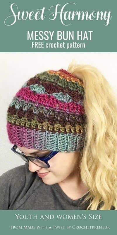 Sweet Harmony Messy Bun Hat: Free Crochet Pattern - Crochetpreneur