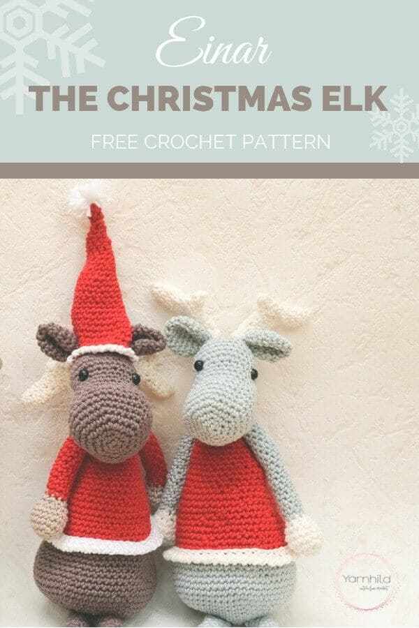This free Einar the Christmas Elk Crochet Pattern is brought to you by Yarnhild. Steeped in Scandivian charm, this elk is helping to spread the Christmas cheer. Start a new Elk on the Shelf tradition this year! #elkontheshelf #christmaselk #elkcrochetpattern #christmascrochetpattern #freecrochetpattern #holidaycrochetpattern #yarnhild #crochetpreneur #30daysofcozy
