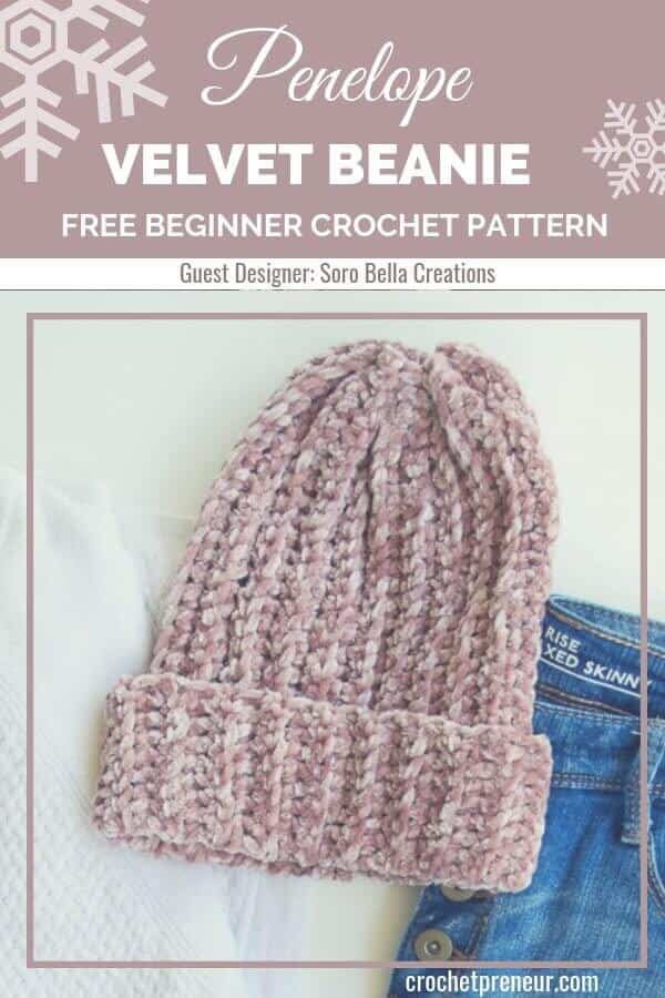 This beginner-friendly velvet beanie crochet pattern is so easy to make it'll become your new favorite! Made with luxurious velvet yarn, the finished winter hat is both soft and warm. #velvethat #velvetyarn #crochetpattern #freecrochetpattern #velvetbeanie #velvetbeaniecrochetpattern #sorobellacreations #30daysofcozy #beginnercrochetpattern