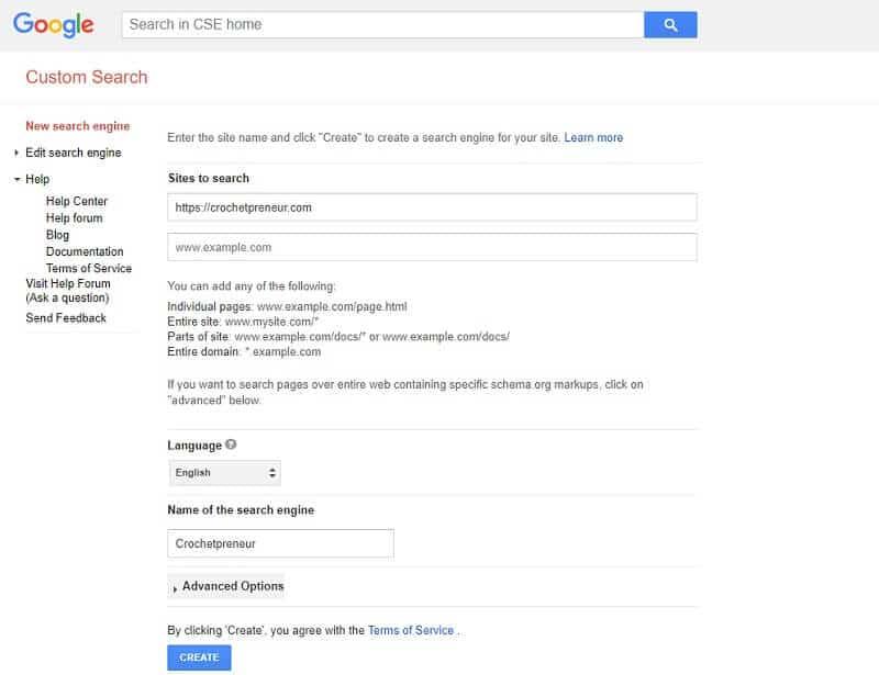 Google Search Engine Add Screen