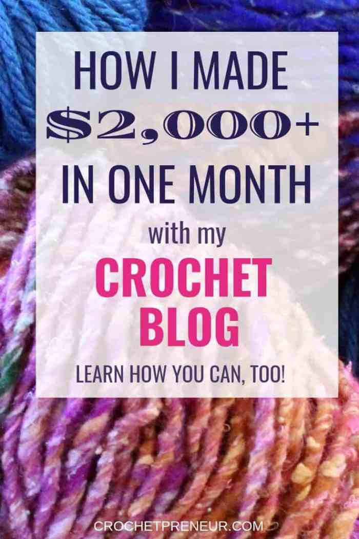 Learn how to make money with a crochet business: selling crochet, designing crochet, and blogging about crochet! Check out my crochet blog income report for February 2019. It was a slow month, but $2K is nothing to sneeze at! You can do it, too. Learn how. #crochetbusiness #handmadebusiness #incomereport #crochetblogincomereport #crochetblog #handmadeblog #bloggingincomereport #february2019