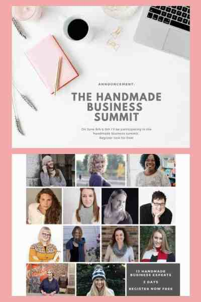 pinterest image of announcement for the handmade business summit