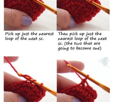 Invisible decrease for crochet