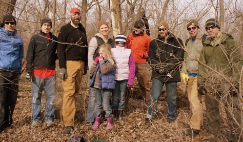 CROCT trail work day, Sechler Park, April 19. L to R: Jeremy Bokman, Galen Murray, Marty Larson, Lisa Neitge, Michael Lehmkuhl, Ryan Hutchinson, Kevin Herman, Josh Seifert