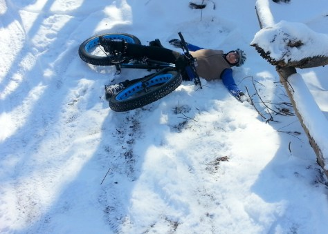 Myrna Mibus, fat biking in Sechler Park 1