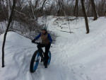 Myrna Mibus, fat biking in Sechler Park 3