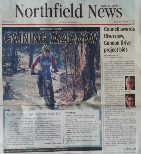 Article on CROCT & fat bikes in the Northfield News, Faribault Daily News