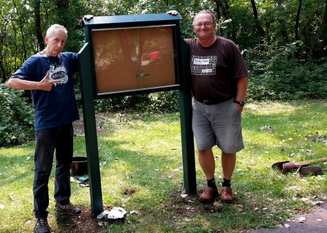 Griff Wigley & Bill Nelson, Sechler Park MTB trailhead kiosk, Northfield