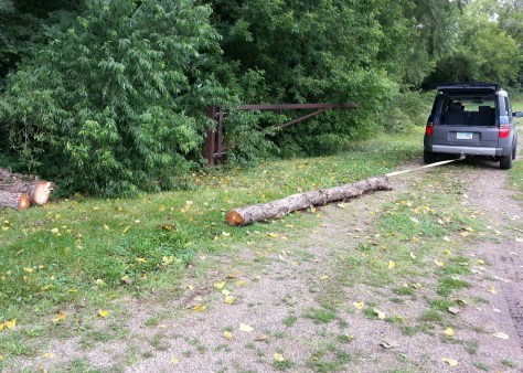 Towing logs into the Sechler skills park