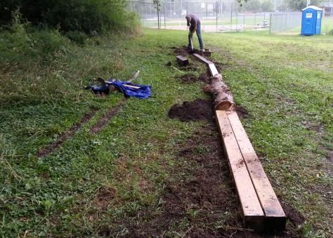 Marty Larson, configuring the beam/log skinny in the Sechler skills park