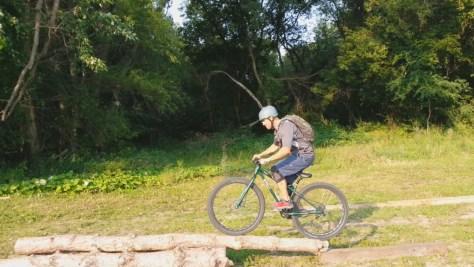 Josh Seifert riding the Sechler skills park logover skinny