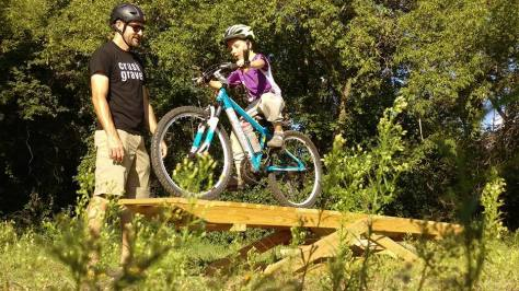 Michael Lehmkuhl watching over the Sechler MTB skills park teeter totter