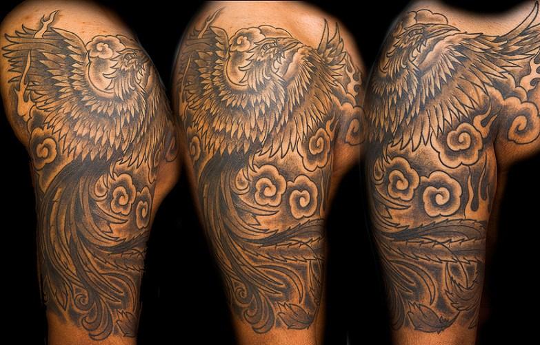 Black and grey Phoenix, 1/2 sleeve. 2014