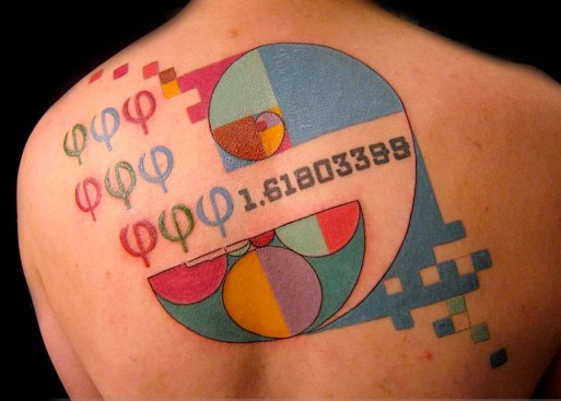 Fibonacci sequence tattoo. Upper back. 2012