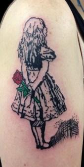 Alice in Wonderland memorial tattoo. Shoulder. 2017