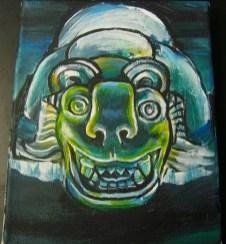Mayan jaguar mask. Acrylic on canvas. 2014