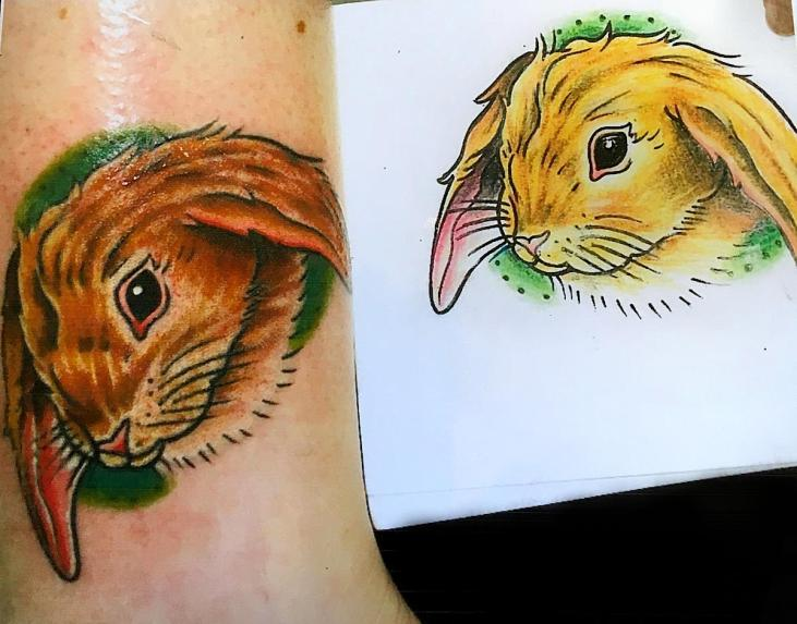 Bunny tattoo and drawing. Outside leg. 2011
