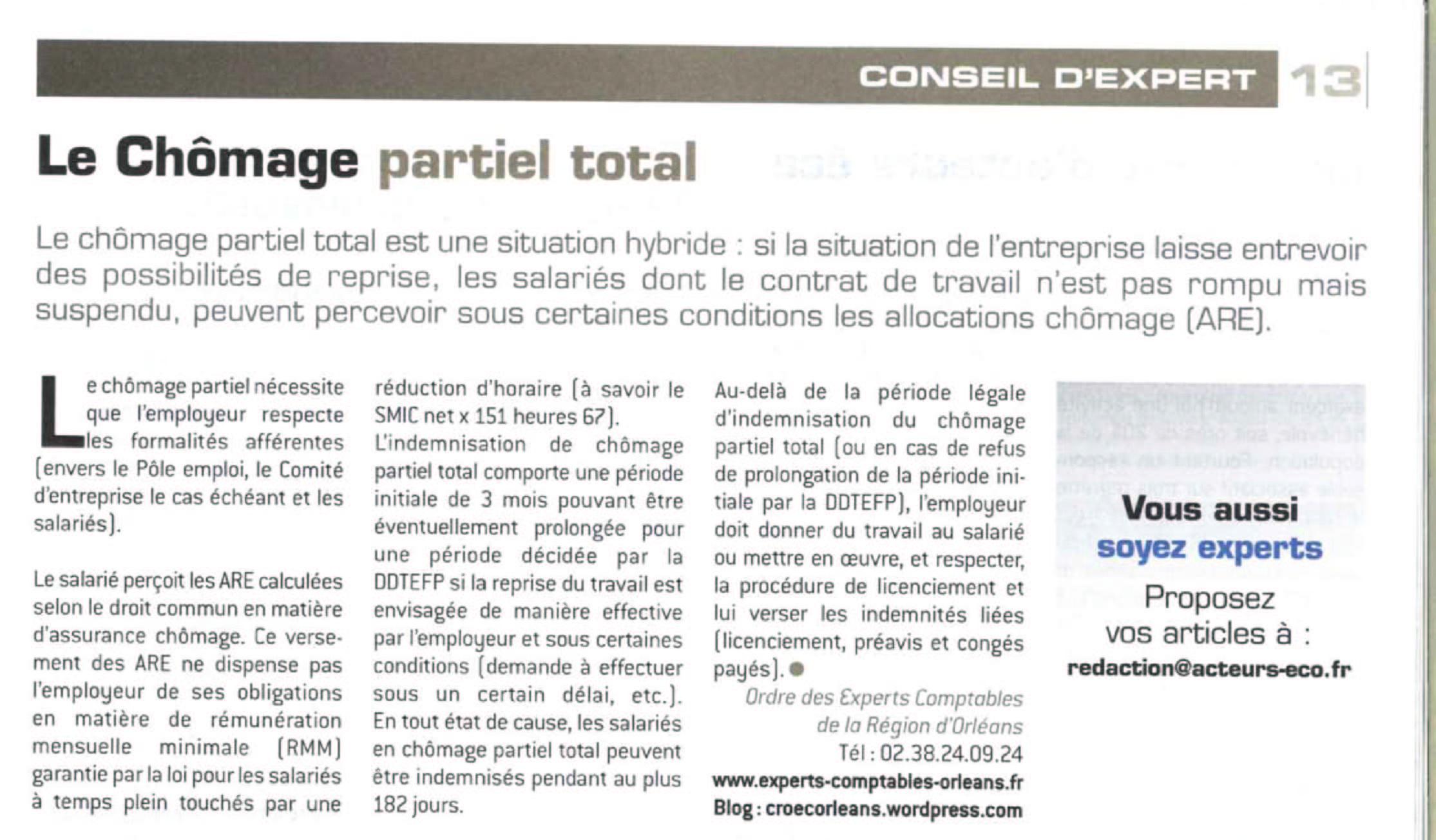 Article paru dans Acteurs Eco du 15 juillet 2009