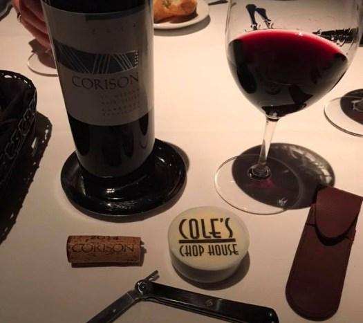 Cole's Chop House dinner photo