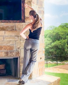 Stephanie Gish posing in those pants for her blog post