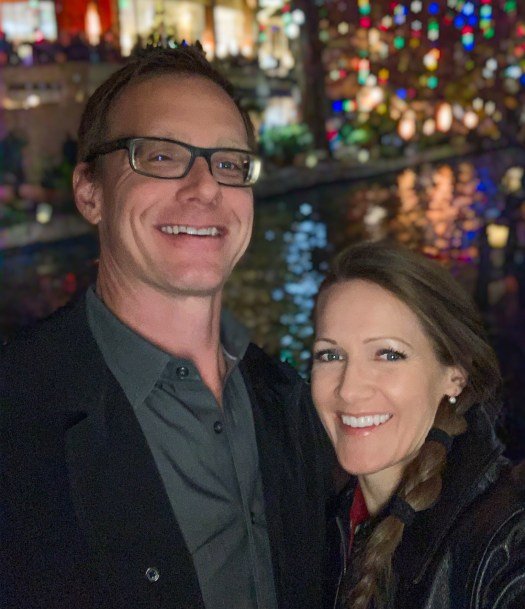 Picture of Steph and Jeff on the San Antonio Riverwalk during Christmas