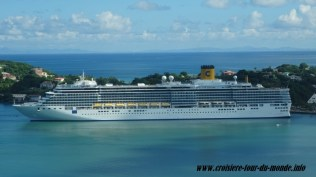 Le Costa Luminosa au port de Castries à Sainte Lucie