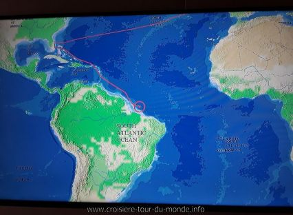 Le trajet du Queen Victoria en approche de Fortaleza