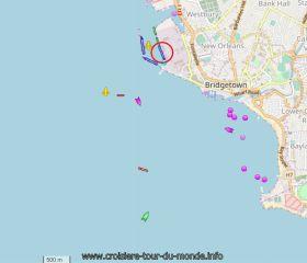 Position du Queen Victoria dans le port de la Barbade