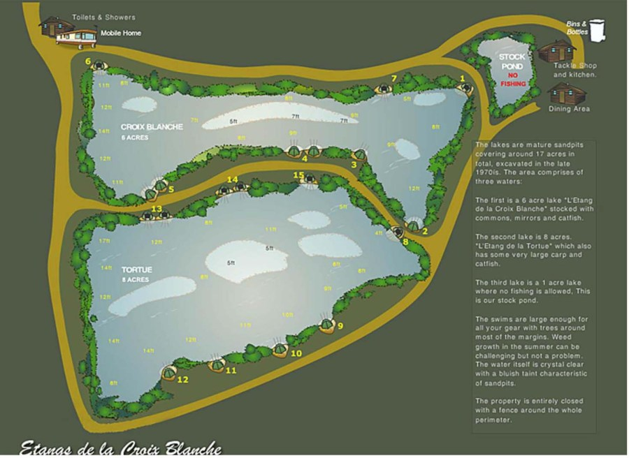 Plan showing the layout of the Croix Blanche Lakes Complex