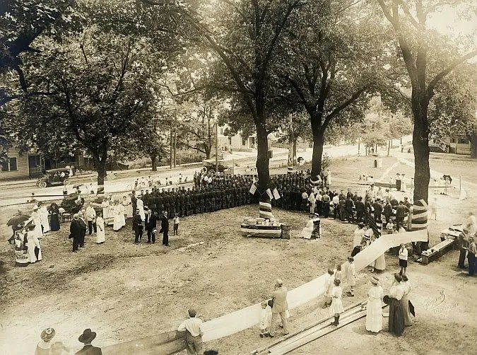 Company D, 2nd NCNG barbecue at a local park, 1916, in Goldsboro, NC just before deployment.