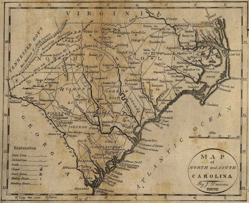 Map of North and South Carolina, 1796, by J. Denison