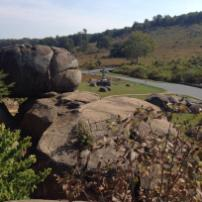 View from the Devil's Den boulders in Initial view of the Den boulders in Gettysburg
