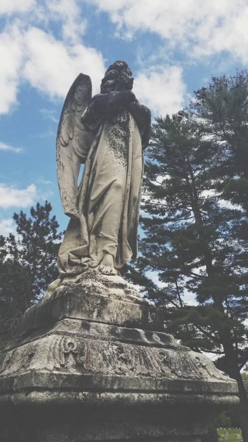 Angel memorial in Pine Ridge Cemetery