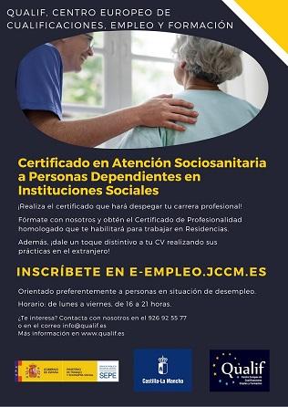 Curso Certificado Profesionalidad en Atención Sociosanitaria a Personas Dependientes en Instituciones Sociales