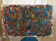Abstract Acrylic 90 cm x 60 cm Signed Ilka Oliva Corado Selling $200