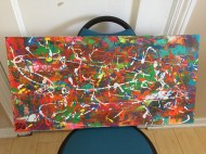 Abstract Acrylic 62 cm x 30 cm Signed Ilka Oliva Corado Selling $80