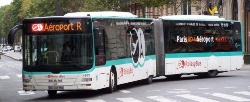 Roissybus, uno de los autobuses en los aeropuertos de Paris