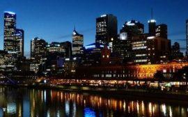Viajar a Melbourne, skyline de noche