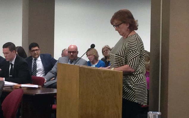 Julia Jones, 62, drove from Prescott to speak against a bill she said would interfere with her end-of-life decisions. Jones said she is dying of lung cancer and doesn't want extreme medical measures. (Photo by Saundra Wilson/Cronkite News)