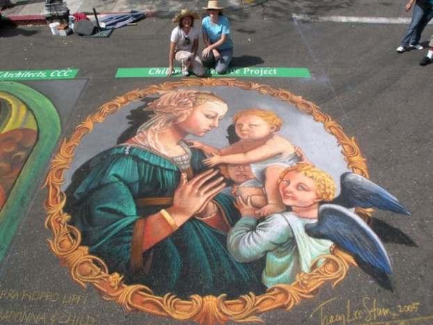 Madonnari autentici artisti di strada italiani capaci di dipingere capolavori d'arte sull'asfalto-3