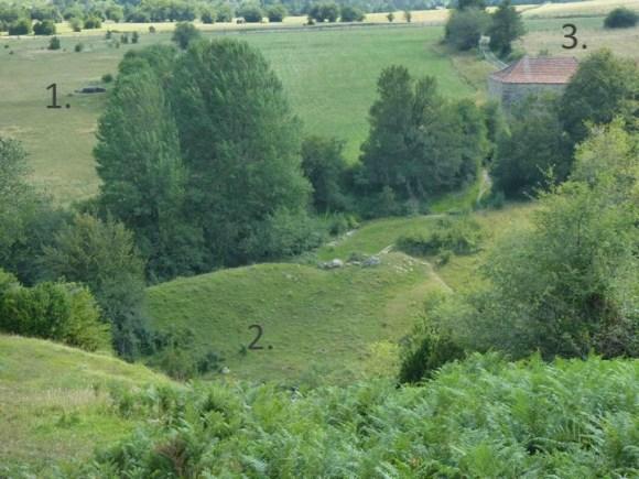 Arrako (Belagua, valle del Roncal): 1. dolmen, 2. túmulo y 3. ermita (de fecha desconocida, probablemente medieval)