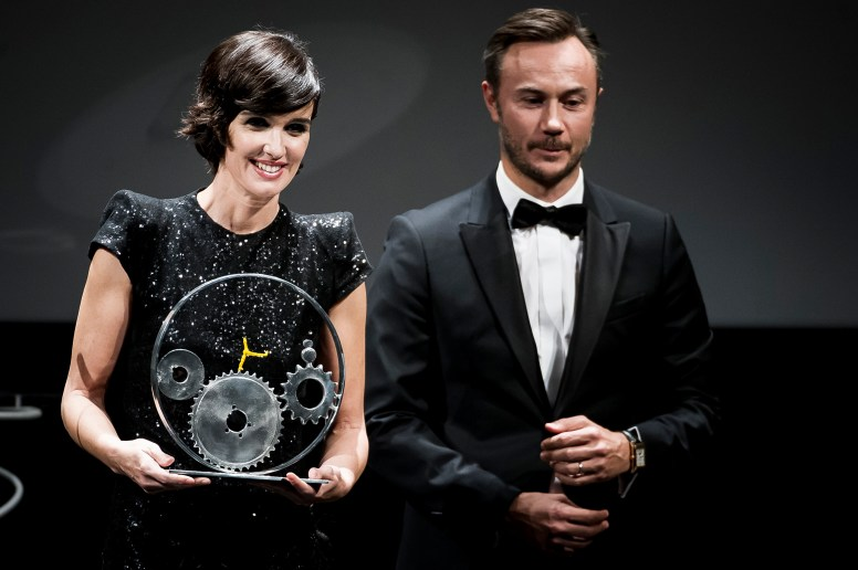 SAN SEBASTIAN, SPAIN - SEPTEMBER 23: Paz Vega recieves from Nicolas Siriez the Jaeger-LeCoultre 'Latin Cinema Award' at Victoria Eugenia Theatre on September 23, 2017 in San Sebastian, Spain (Photo by Juan Naharro / Getty Images for Jaeger-LeCoultre)