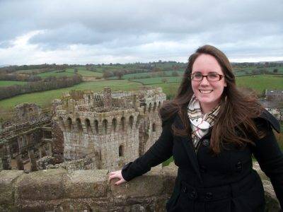 Eileen at a castle in Wales