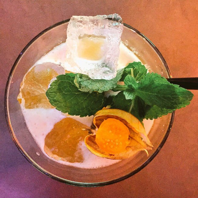 overhead view of cocktail with mint and gooseberry
