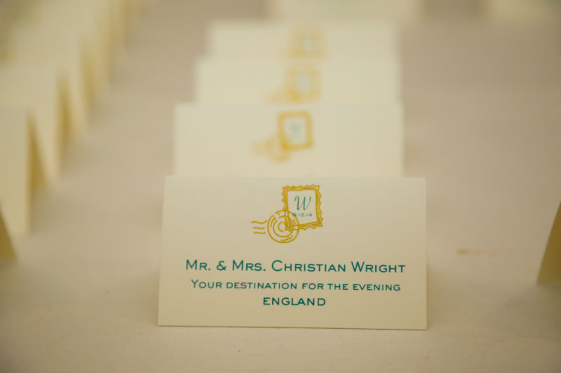 Travel themed wedding placecard holders