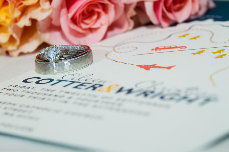 travel themed wedding invitations detail