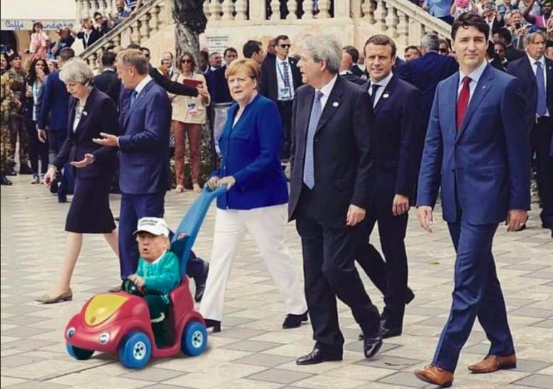Image result for angela merkel pushing trump is stroller