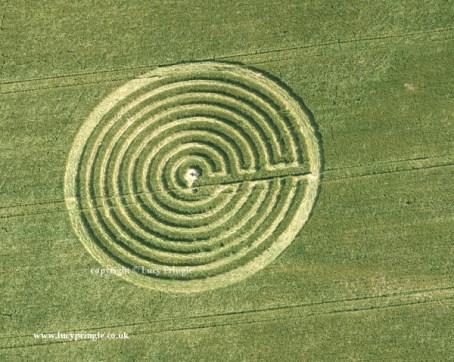 Redlynch, Somerset - 22 June 2015 Barley. c.140ft (43m) diameter. A labyrinth design.