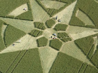 Stonehenge, Wiltshire. 8 July 2016. Wheat. c. 200 feet (61m). A seven pointed star, with five of its points overlaying a crescent within a band of square shaped elements.
